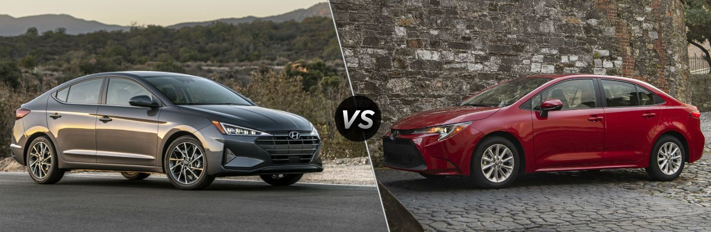 2020 Hyundai Elantra Exterior Passenger Side Front Profile vs 2020 Toyota Corolla Exterior Driver Side Front Profile
