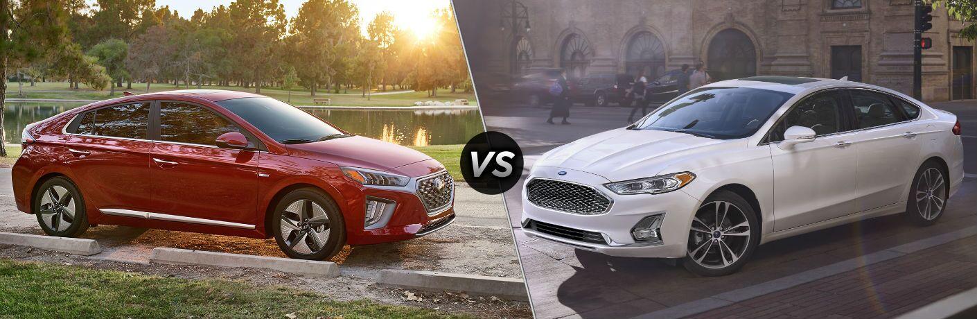 2020 Hyundai Ioniq Exterior Passenger Side Front Profile vs 2020 Ford Fusion Hybrid Exterior Driver Side Front Profile