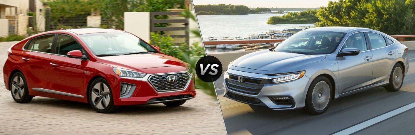 2020 Hyundai Ioniq Exterior Passenger Side Front Profile vs 2020 Honda Insight Exterior Driver Side Front Profile