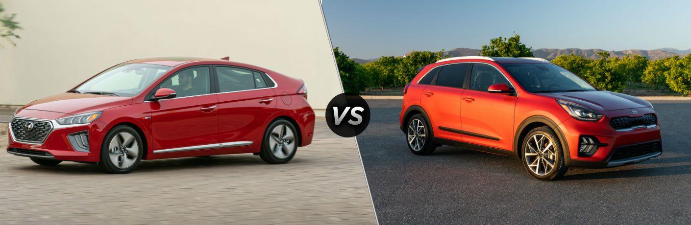 2020 Hyundai Ioniq Exterior Driver Side Front Profile vs 2020 Kia Niro Exterior Passenger Side Front Profile