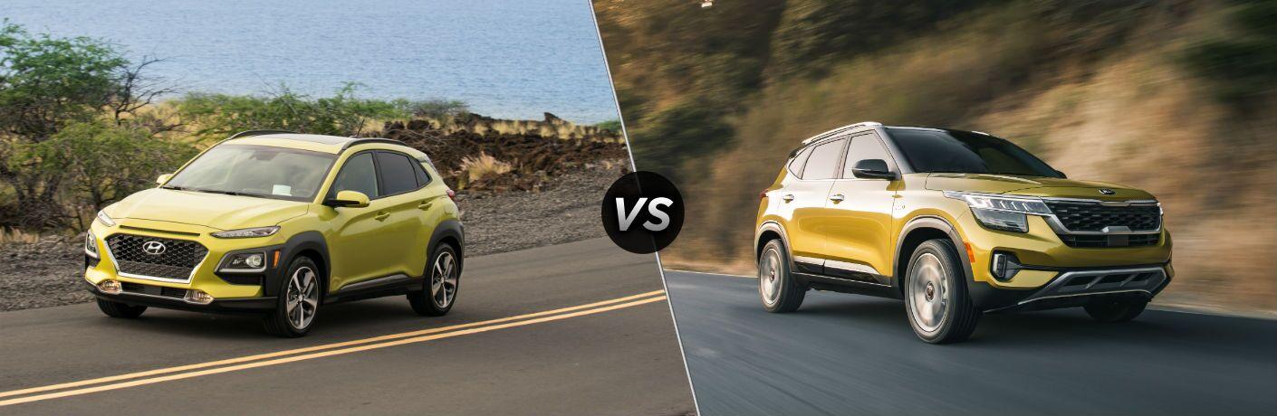 2020 Hyundai Kona Exterior Driver Side Front Angle vs 2021 Kia Seltos Exterior Passenger side Front Profile