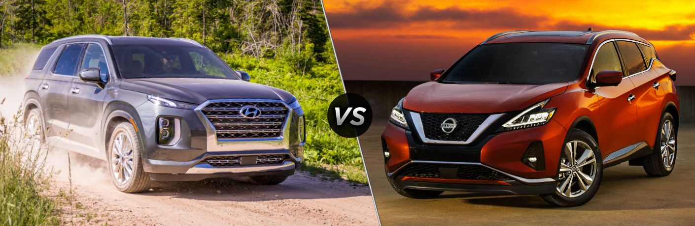 2020 Hyundai Palisade Exterior Passenger Side Front Profile vs 2020 Nissan Murano Exterior Driver Side Front Profile