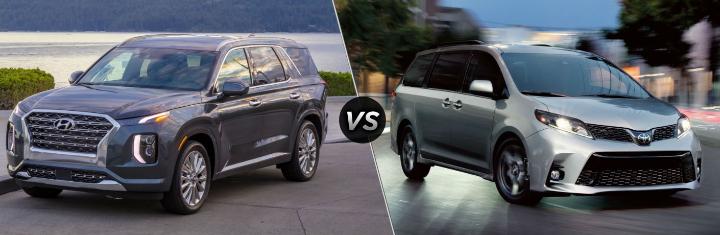 2020 Hyundai Palisade Exterior Driver Side Front Profile vs 2020 Toyota Sienna Exterior Passenger Side Front Profile