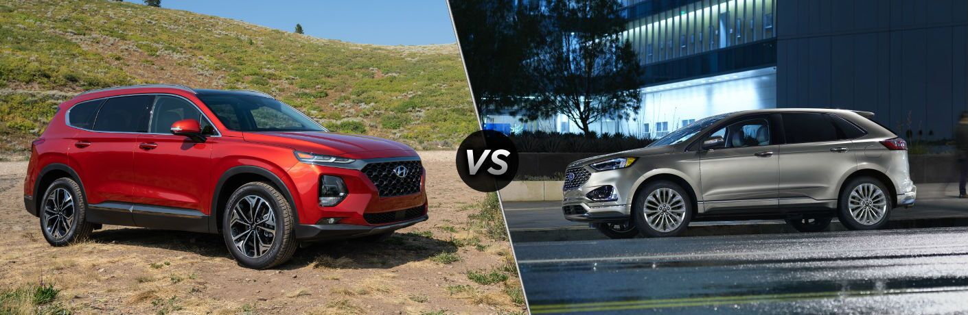 2020 Hyundai Santa Fe Exterior Passenger Side Front Profile vs 2020 Ford Edge Exterior Driver Side Front Profile
