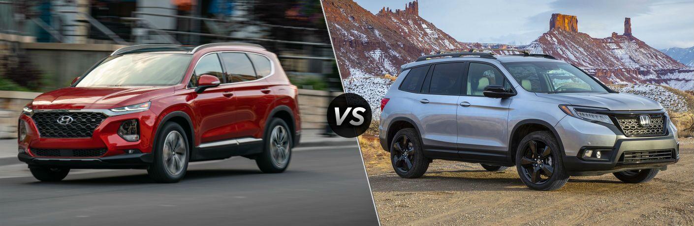 2020 Hyundai Santa Fe Exterior Driver Side Front Profile vs 2020 Honda Passport Exterior Passenger Side Front Profile