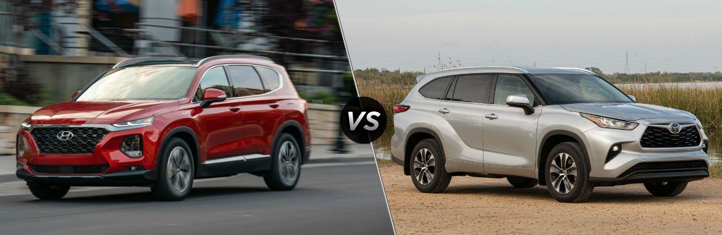 2020 Hyundai Santa Fe Exterior Driver Side Front Profile vs 2020 Toyota Highlander Exterior Passenger Side Front Profile