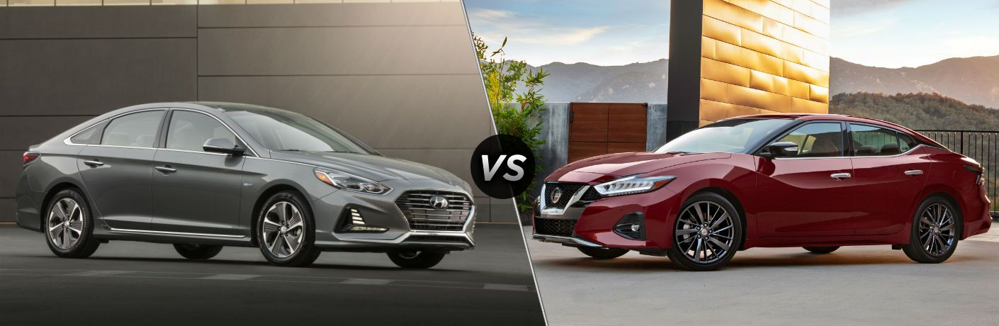 2019 Hyundai Sonata Hybrid Exterior Passenger Side Front Profile vs 2019 Nissan Maxima Exterior Driver Side Front Profile