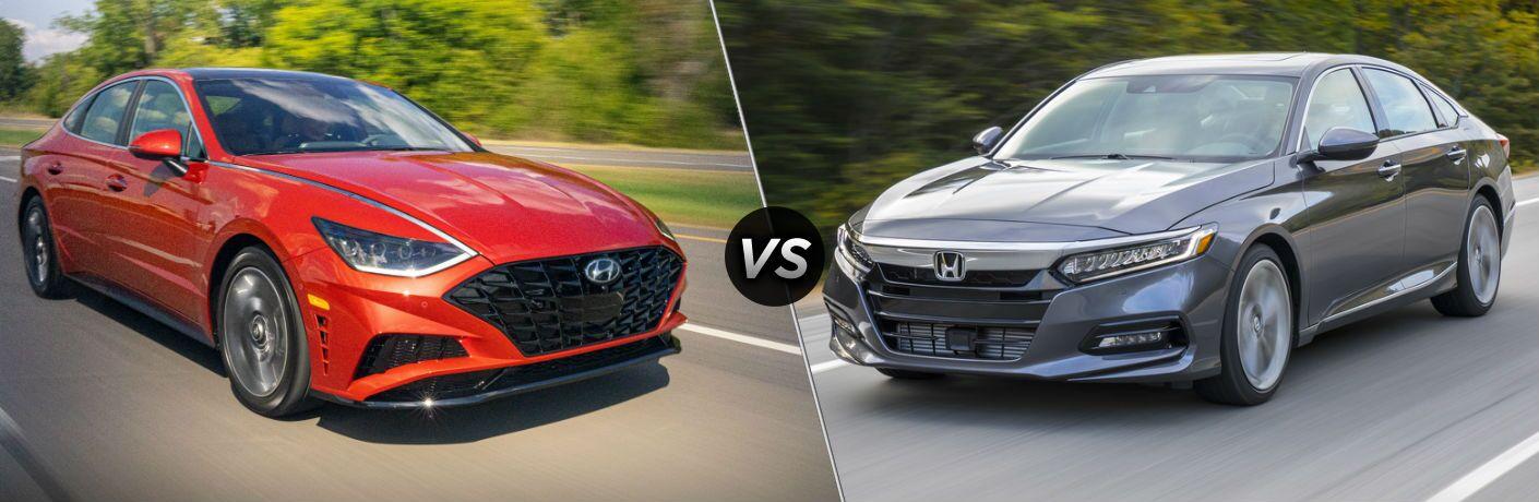 2020 Hyundai Sonata Exterior Passenger Side Front Profile vs 2020 Honda Accord Exterior Driver Side Front Profile