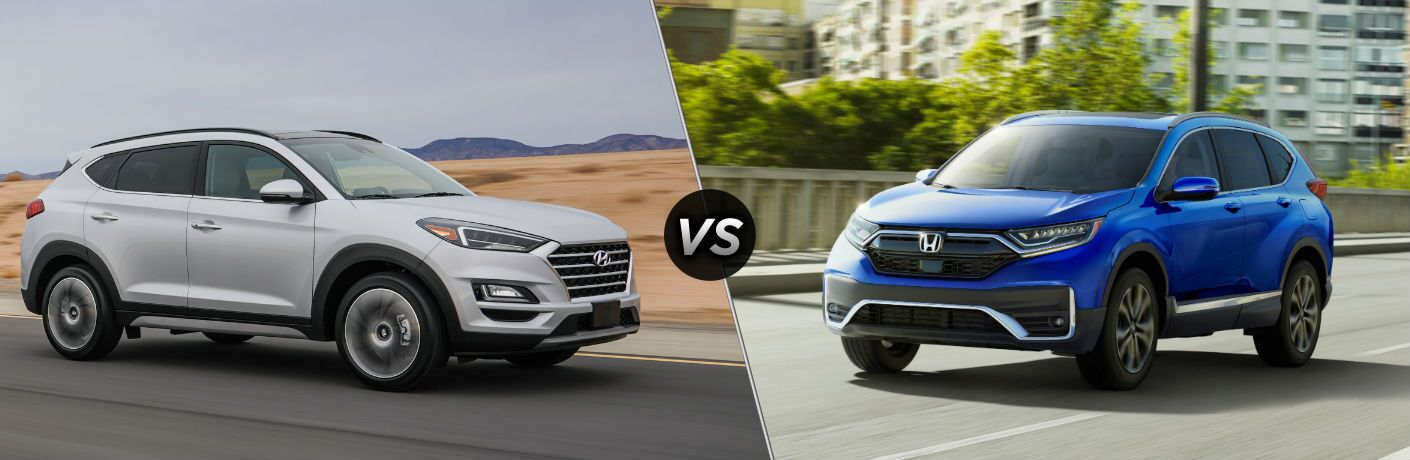 2020 Hyundai Tucson Exterior Passenger Side Front Profile vs 2020 Honda CR-V Exterior Driver Side Front Profile