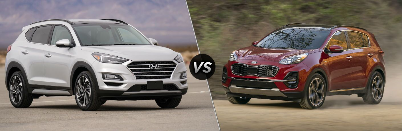 2020 Hyundai Tucson on left vs the 2020 Kia Sportage on the right