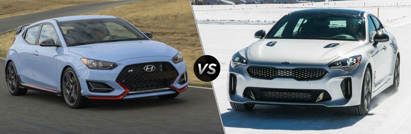 2020 Hyundai Veloster N Exterior Passenger Side Front Profile vs 2020 Kia Stinger Exterior Driver Side Front Angle