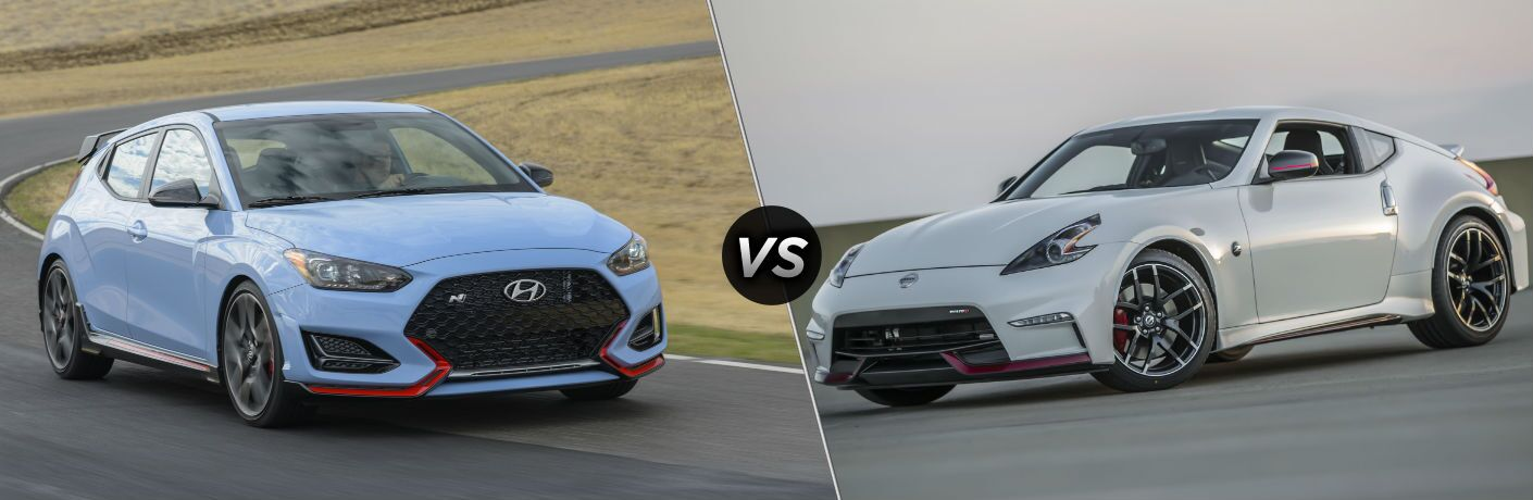 2019 Hyundai Veloster N Exterior Passenger Side Front Profile vs 2019 Nissan 370Z NISMO Exterior Driver Side Front Profile