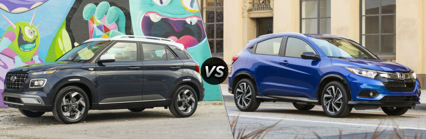 2020 Hyundai Venue Exterior Driver Side Front Profile vs 2020 Honda HR-V Exterior Passenger Side Front Profile