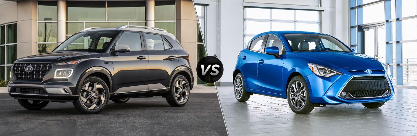 2020 Hyundai Venue Exterior Driver Side Front Profile vs 2020 Toyota Yaris Hatchback Exterior Passenger Side Front Profile
