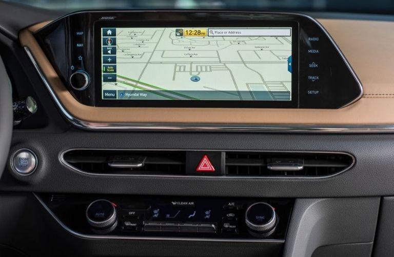 2020 Hyundai Sontana inside view of 10.25-inch navigation screen
