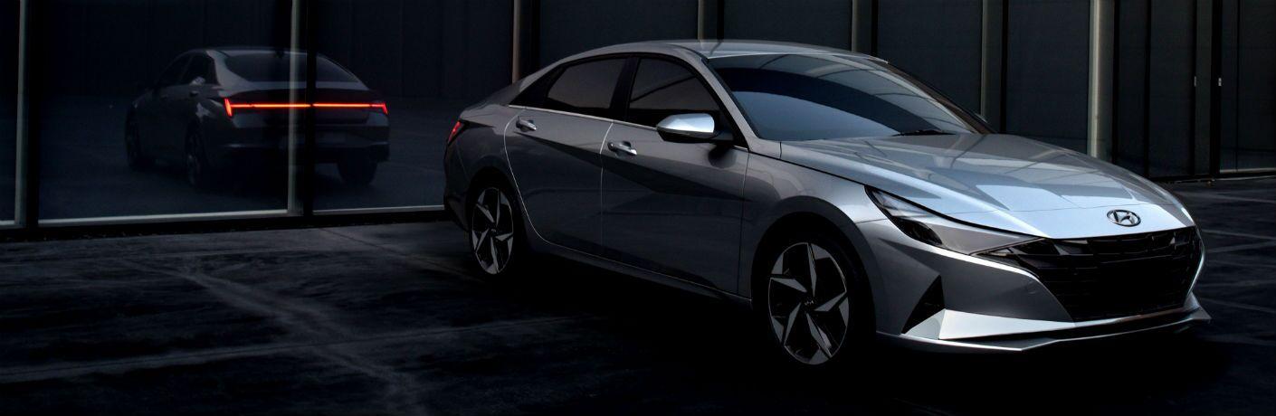 2021 Hyundai Elantra Exterior Passenger Side Front Profile with Rear Reflection