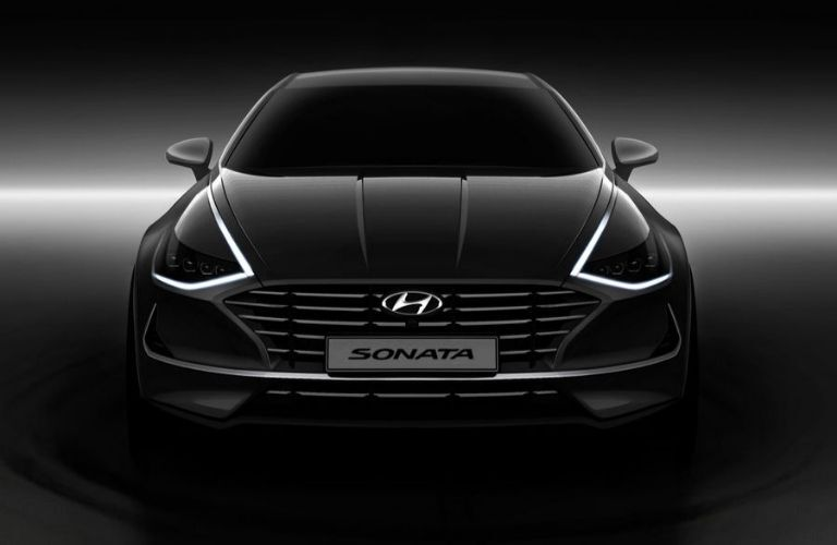 Black 2020 Hyundai Sonata from front showing new headlight design