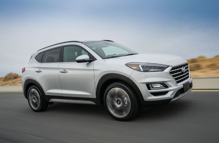 Gray 2020 Hyundai Tucson from passenger side
