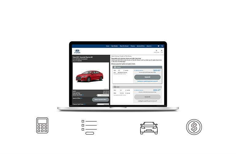 Hyundai Shopper Assurance Program Open Laptop Application Calculator Trade-In Money