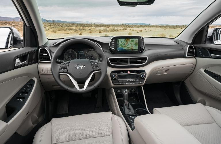 Interior front seat view of dash on 2020 Hyundai Tucson