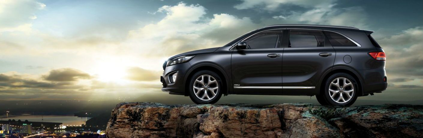 Side profile of the 2017 Kia Sorento parked on an overlook looking out over a city