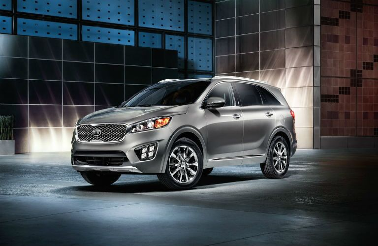 Front Quarter profile of the 2017 Kia Sorento in a grey room