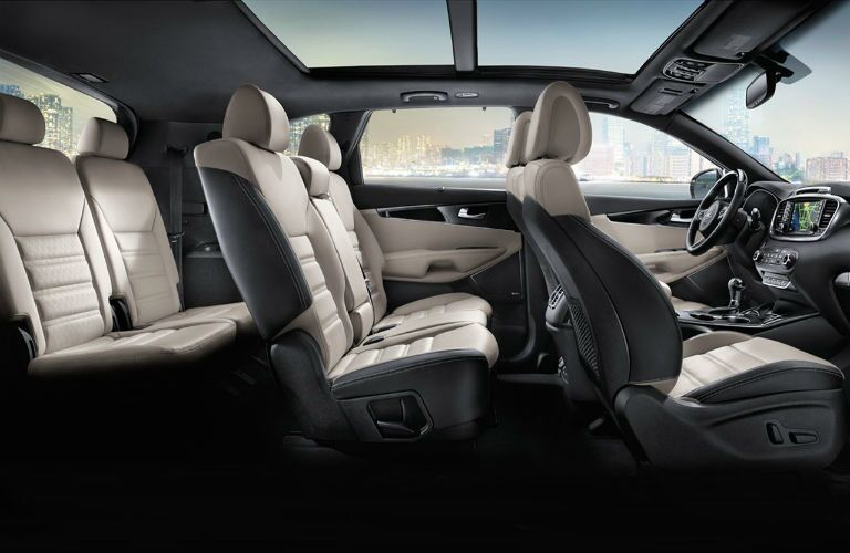 Seven seating capacity cutaway of the 2017 Kia Sorento interior