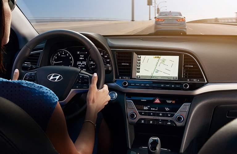 2017 Hyundai Elantra dashboard layout and windshield view