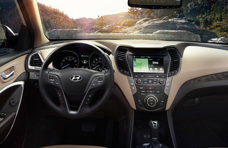 2017 Hyundai Santa Fe Sport steering wheel and infotainment system
