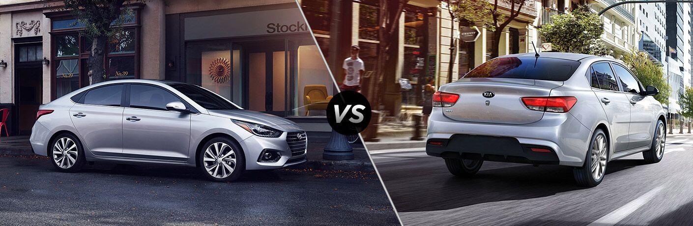 2018 Hyundai Accent next to the 2018 Kia Rio
