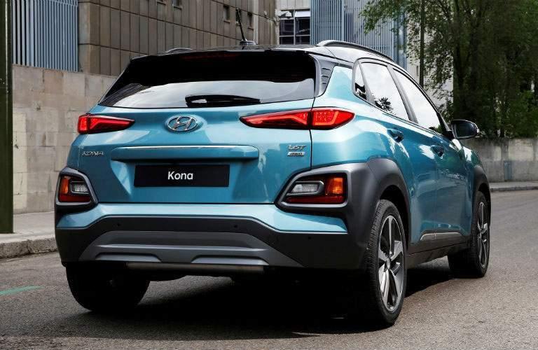 rear view of a blue 2018 Hyundai Kona