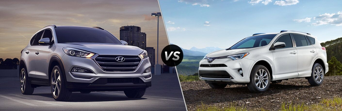 2018 Hyundai Tucson next to the 2018 Toyota RAV4