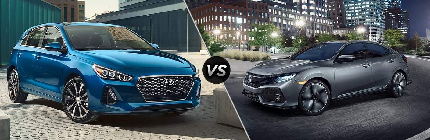 2018 Hyundai Elantra GT vs the 2018 Honda Civic Hatchback side by side