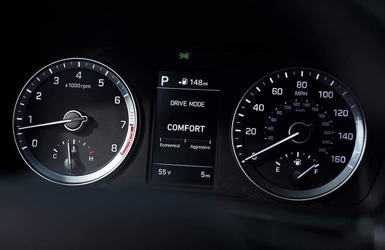 close up of the driver information display in a 2018 Hyundai Sonata Hybrid