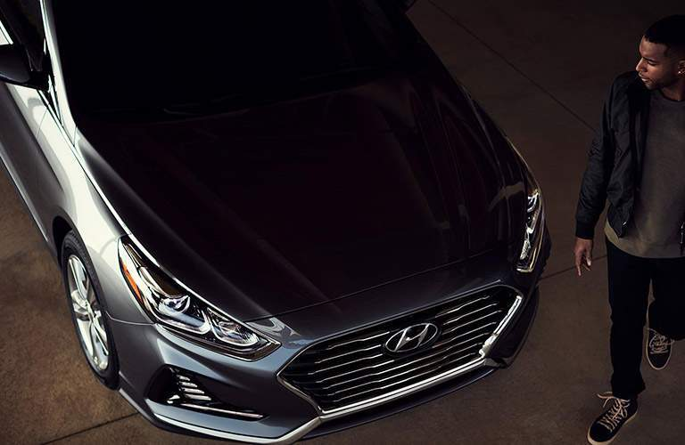 top down view of the hood of a black 2018 Hyundai Sonata