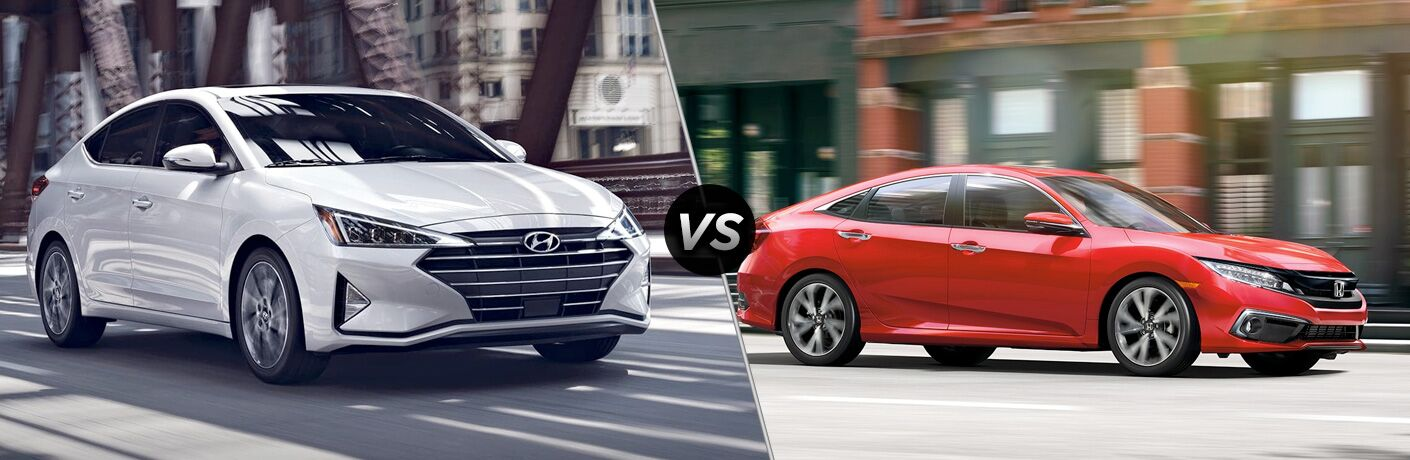 2019 Hyundai Elantra exterior front fascia and passenger side vs 2019 Honda Civic exterior front fascia and passenger side