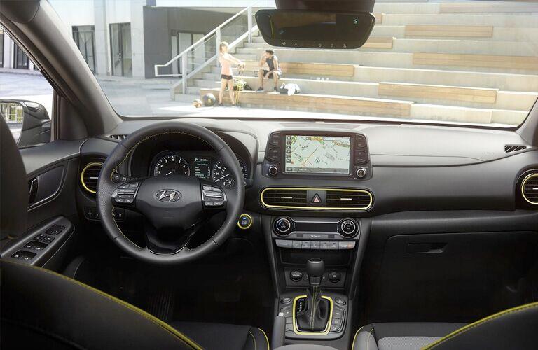 2019 Hyundai Kona interior front cabin steering wheel and dashboard
