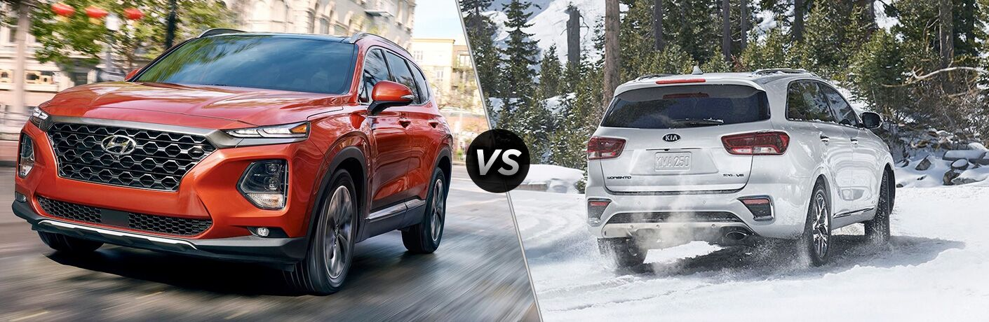2019 Hyundai Santa Fe exterior front fascia and drivers side vs 2019 Kia Sorento exterior back fascia and passenger side