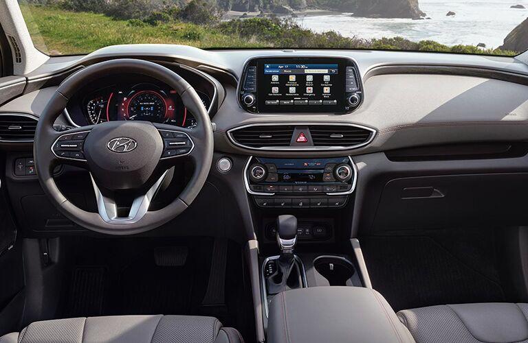 2019 Hyundai Santa Fe interior front cabin steering wheel and dashboard
