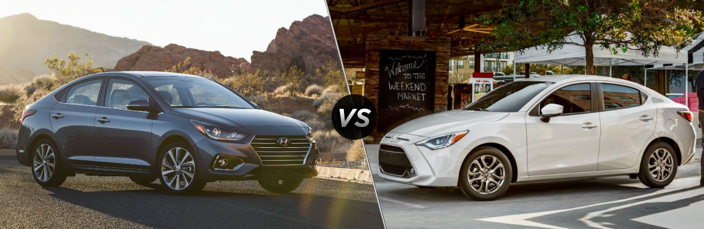 2019 Hyundai Accent Exterior Passenger Side Front Angle vs 2019 Toyota Yaris Exterior Driver Side Front Profile