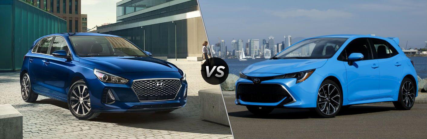2019 Hyundai Elantra GT Exterior Passenger Side Front Profile vs 2019 Toyota Corolla Hatchback Exterior Driver Side Front Profile