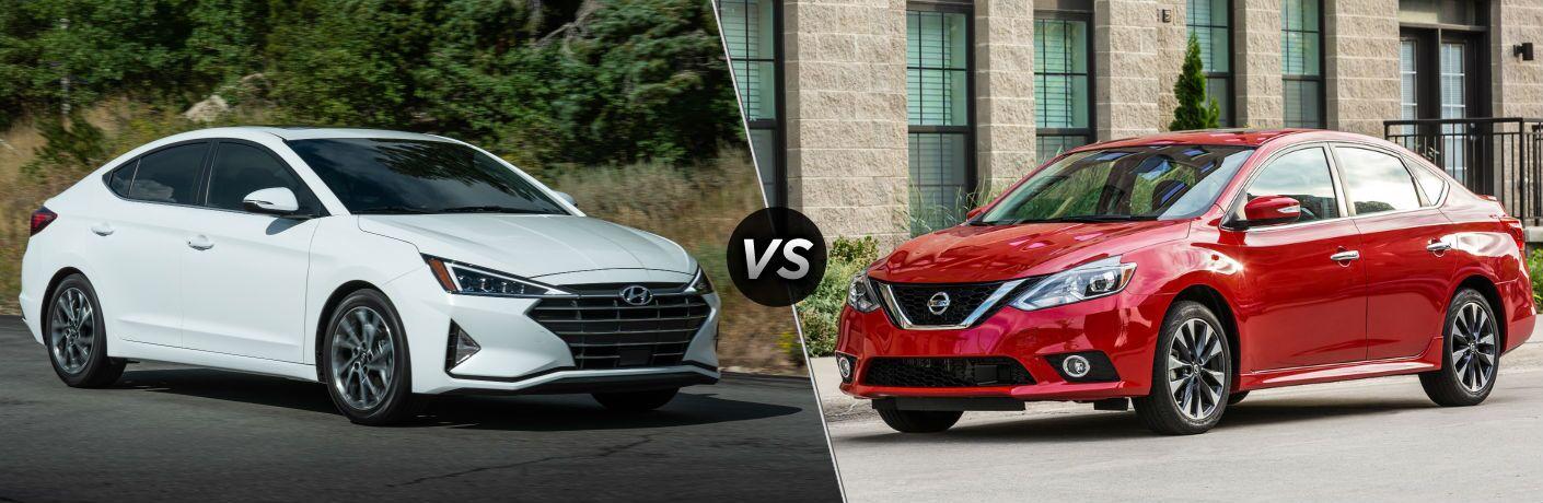2019 Hyundai Elantra Exterior Passenger Side Front Profile vs 2019 Nissan Sentra Exterior Driver Side Front Profile