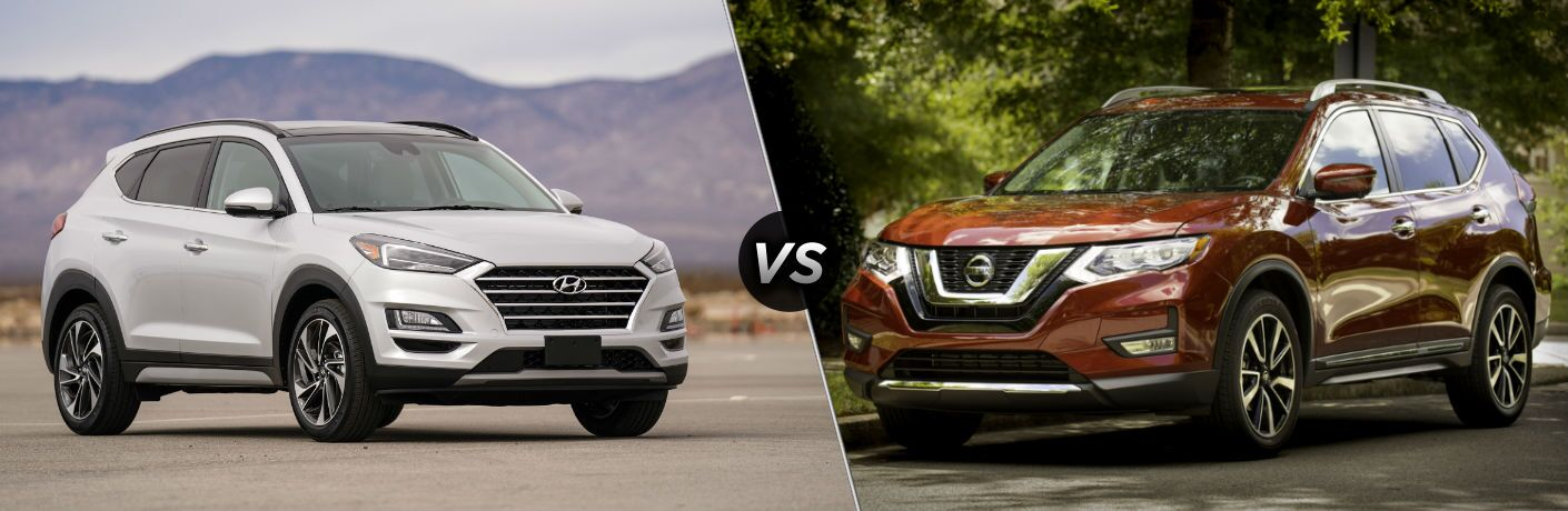 2019 Hyundai Tucson Exterior Passenger Side Front Profile vs 2019 Nissan Rogue Exterior Driver Side Front Profile