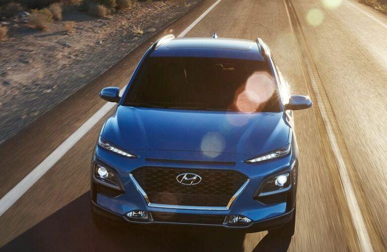 2019 Hyundai Kona blue front view