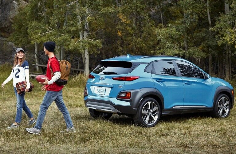 2019 Hyundai Kona blue back view