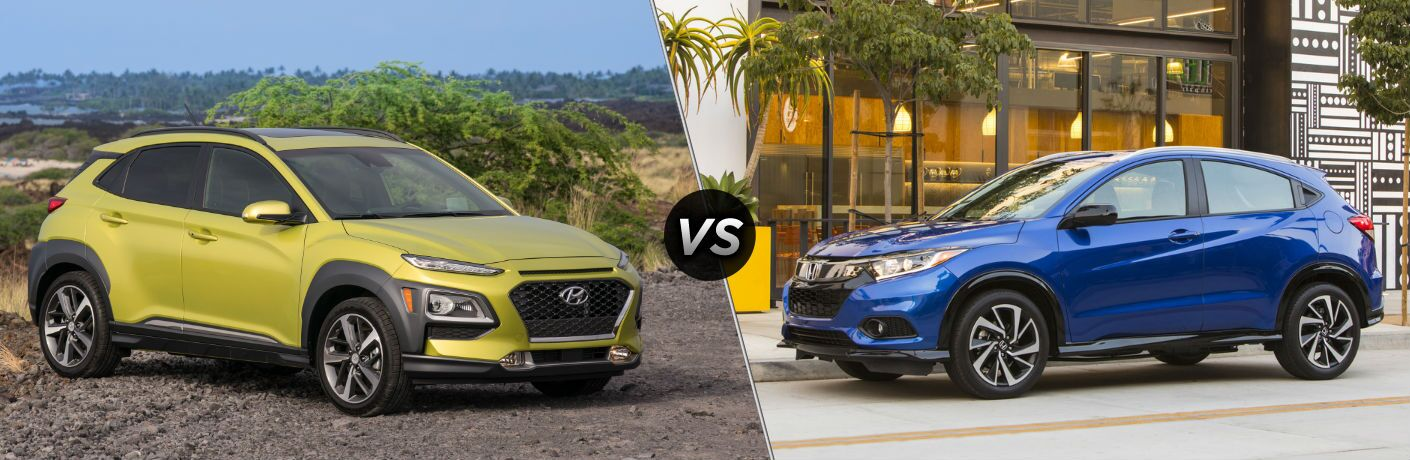 2020 Hyundai Kona Exterior Passenger Side Front Profile vs 2020 Honda HR-V Exterior Driver Side Front Profile