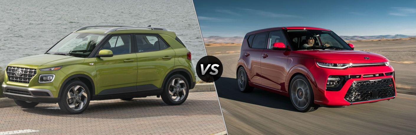 2020 Hyundai Venue Exterior Driver Side Front Profile vs 2020 Kia Soul Exterior Passenger Side Front Profile