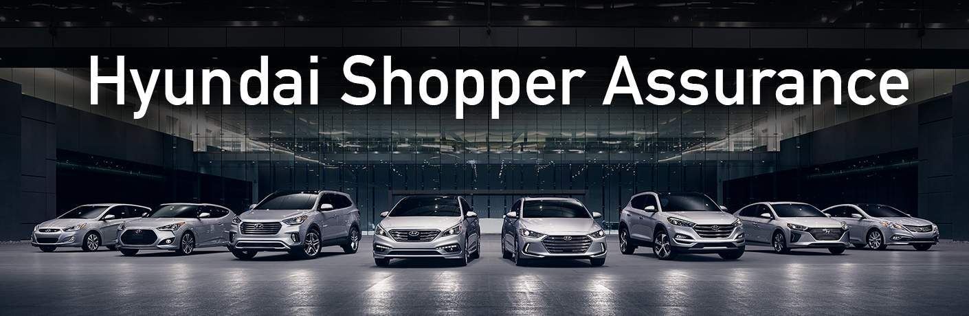 lineup of Hyundai vehicles with Hyundai Shopper Assurance text