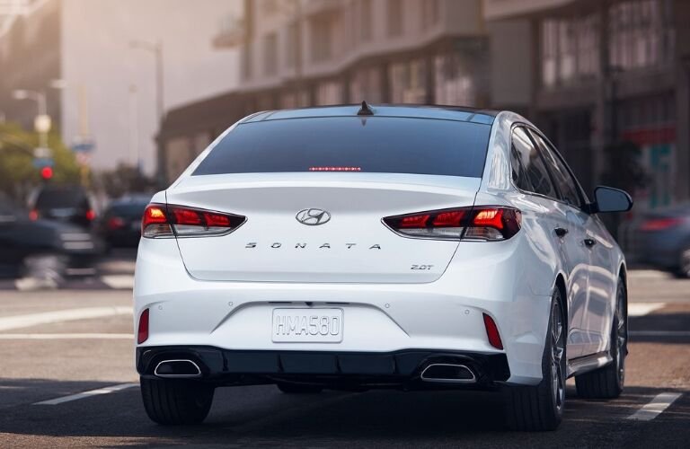 Rear of white 2019 Hyundai Sonata