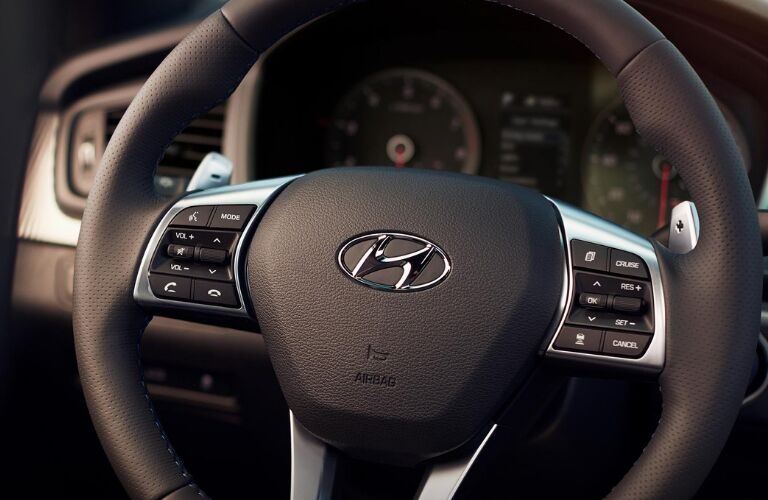 Closeup of 2019 Hyundai Sonata steering wheel